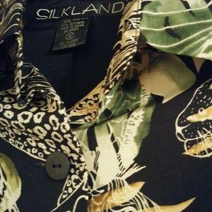 SilkLand Tops - Woman's Silkland Animal Print Blouse Size 4